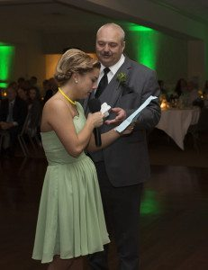 Maid of honor was given a handkerchief by her Dad during her speech.