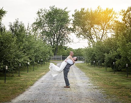 Bride and Groom at County Line Orchard.